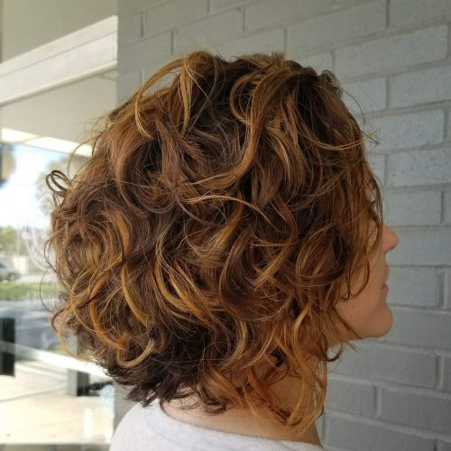 Naturally Curly Brown Hair with Blonde Highlights