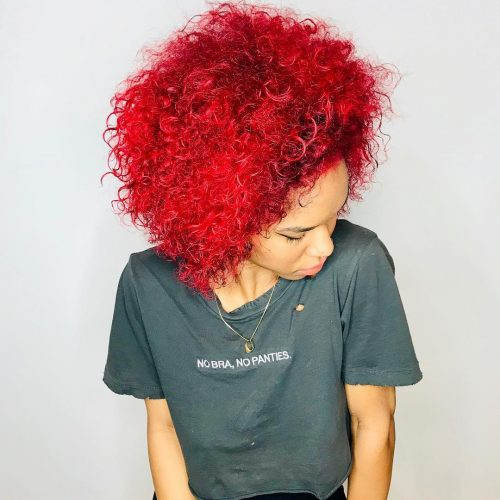 Bright red hair color for naturally curly shoulder