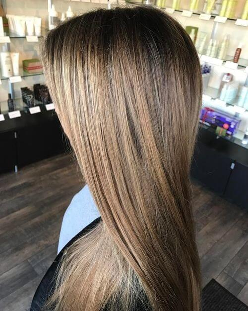 Brown to blonde ombre on straightened hair