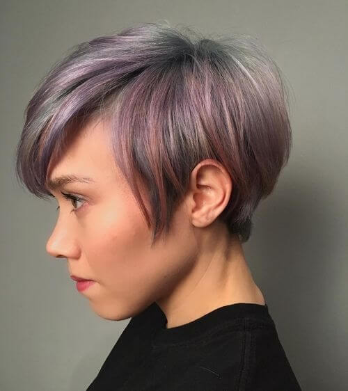 pastel colored long pixie cut