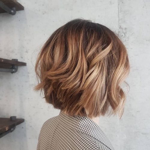 Picture perfect short layered caramel brown bob