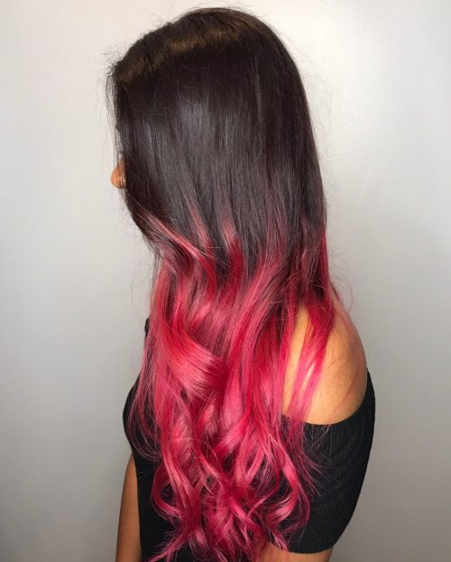 Picture of pink ombre waves a long simple hairstyles