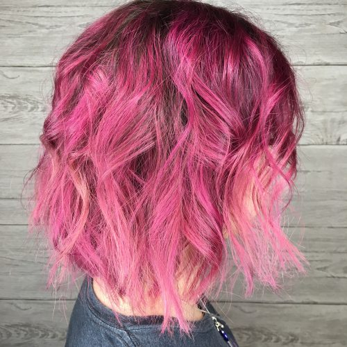 Picture of a pinky bob punk hairstyle