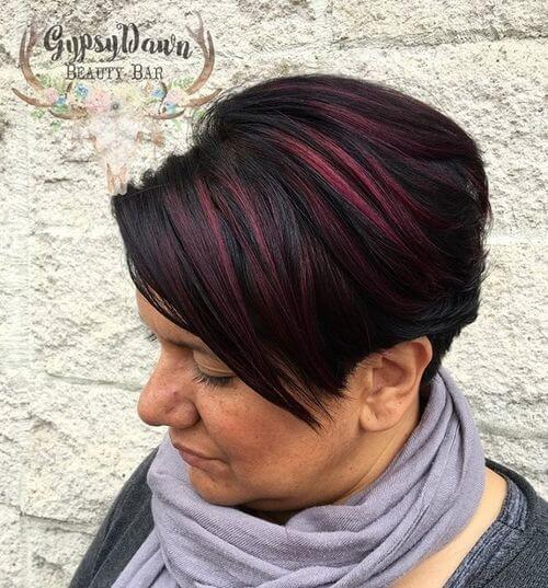 pixie cut with red highlights