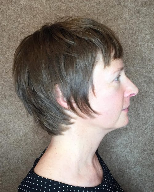 A dreamy short pixie shag with bangs