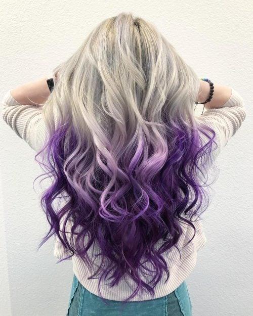 Platinum Blonde to Purple Ombre