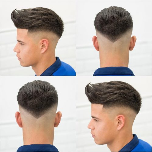 Picture of a pointed drop fade a men's short hairstyle