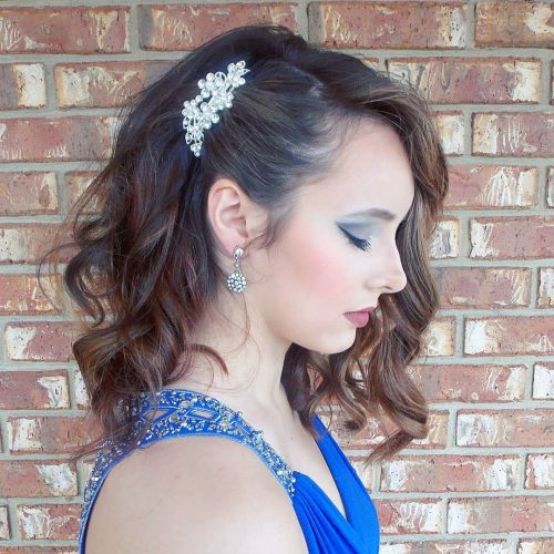 Picture of mid length prom hair comb