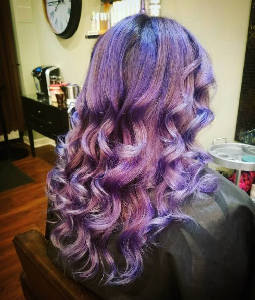 Picture of purple curls curled hairstyle