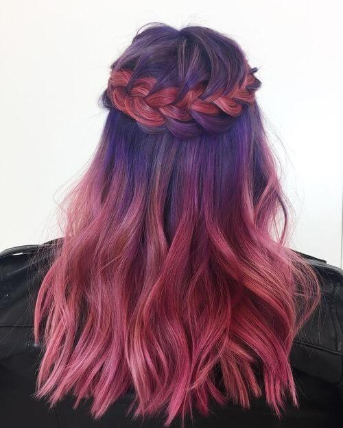 pink and purple hair styles 23 purple hair color ideas trending in 2018 3957 | purple hair with a braid