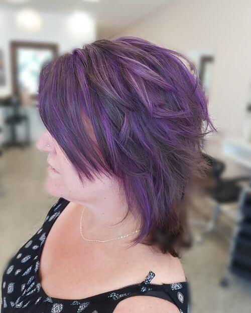 Purple hair with brown roots