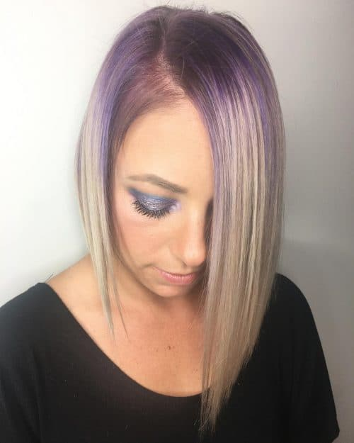 Purple Rooted A-Line hairstyle