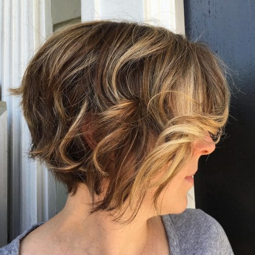 A razor cut short bob haircut