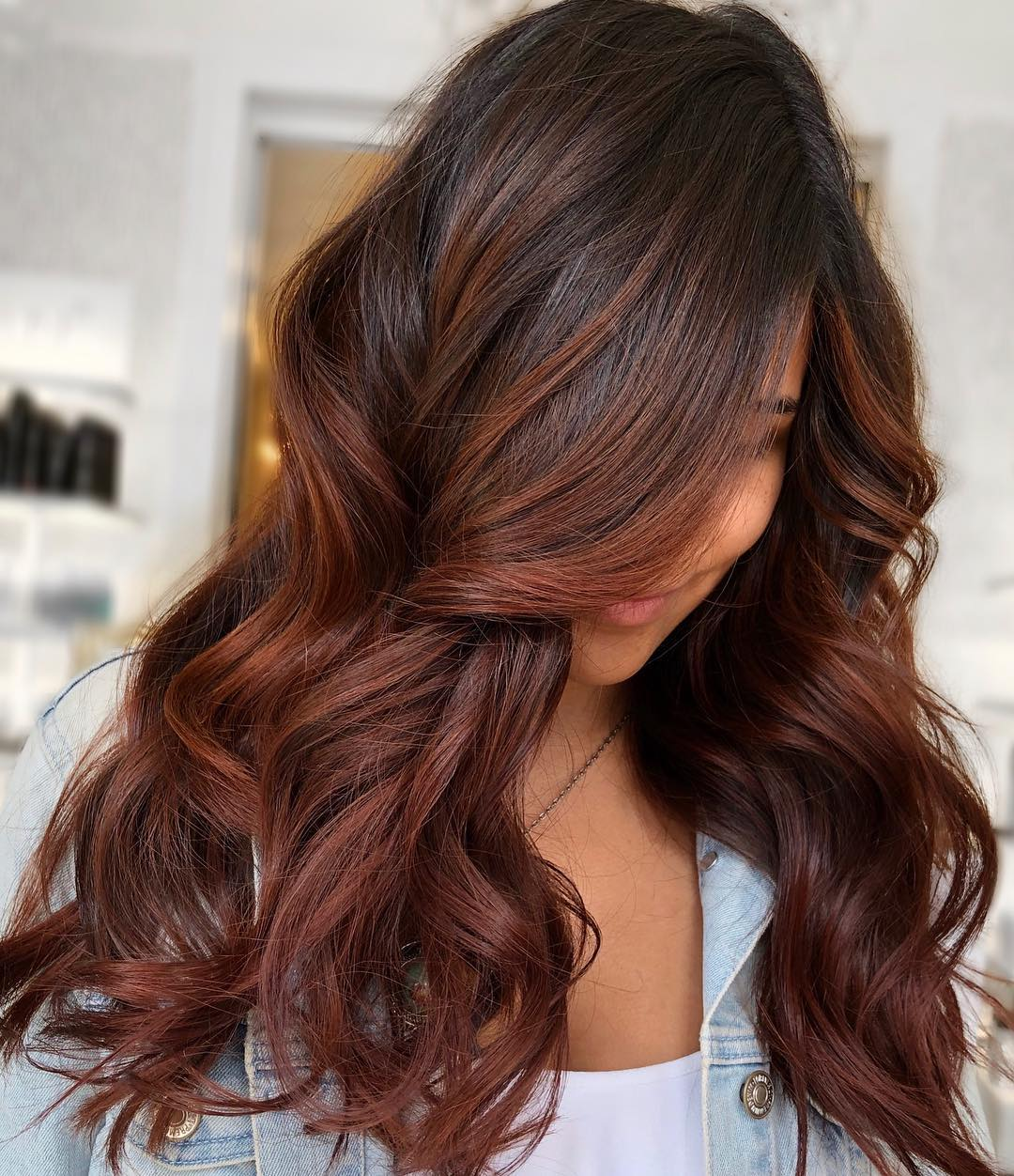 Red Chestnut Highlights on Brown Natural Hair