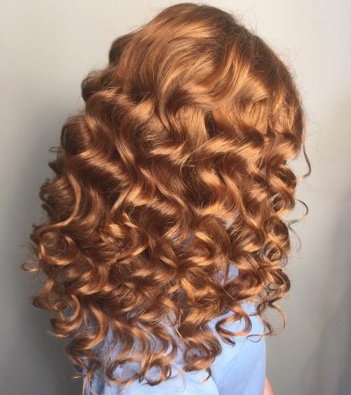 Picture of red curled hairstyle