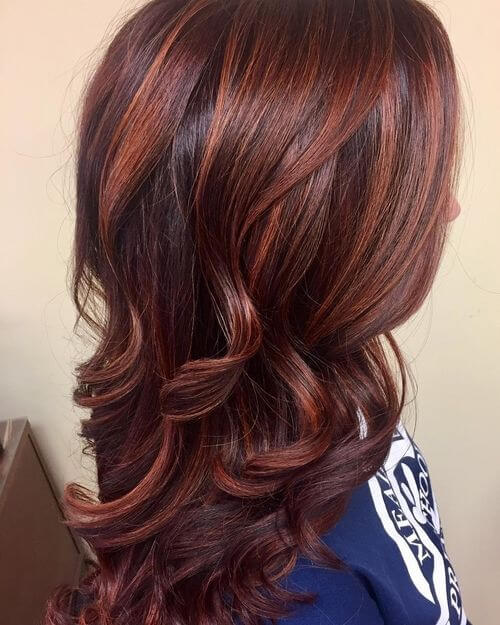 Dark brown and red hair color