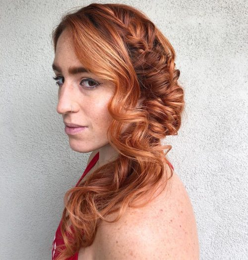 Picture of a red hair boho side swept hairstyle
