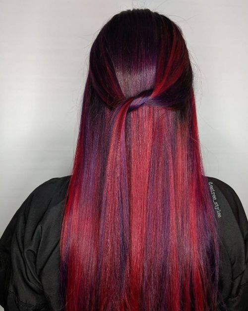 Multiple Hair Coloring: 22 Hottest Red Purple Hair Colors (Balayage, Ombres And