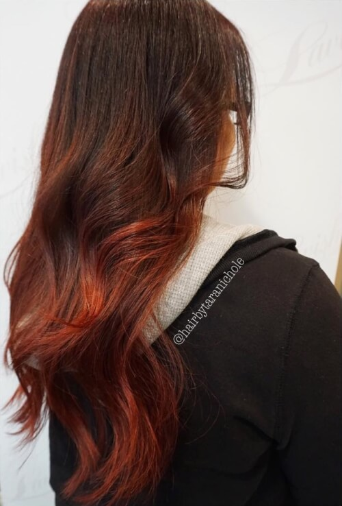 Red ombré hair color melt