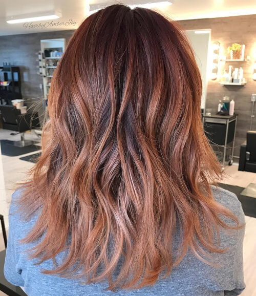 red rose gold hair color