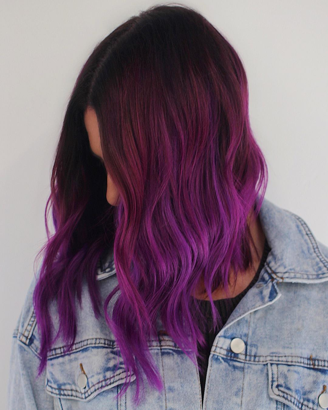 Red to dark purple ombre hair color