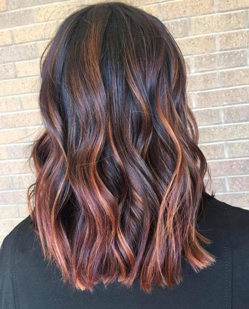 Red Violet and Copper Balayage hairstyle