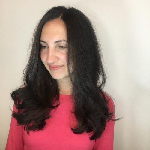 Picture of a relaxed manageable and flowy long layers for square face