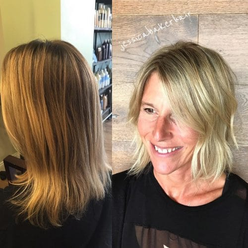 A stylish examples of long bobs for older women