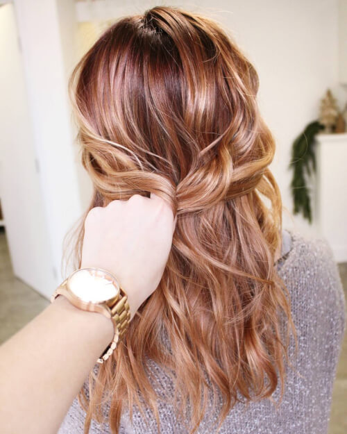 Rich rose gold tones hair color