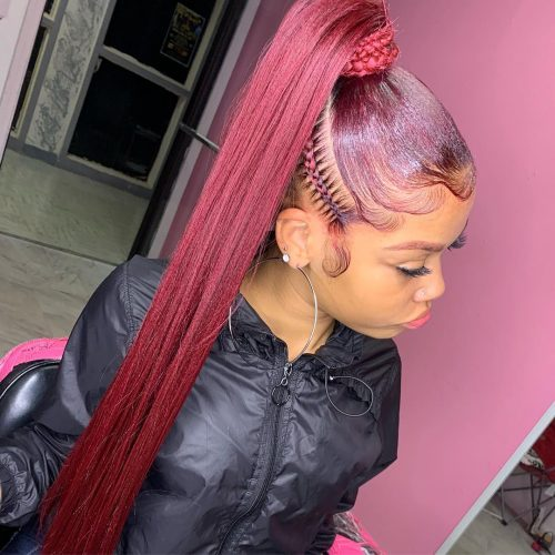Rich Dark Red Hair on Brown Skin