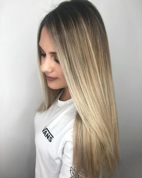 Picture of a rooted balayage a long hairstyle for round face
