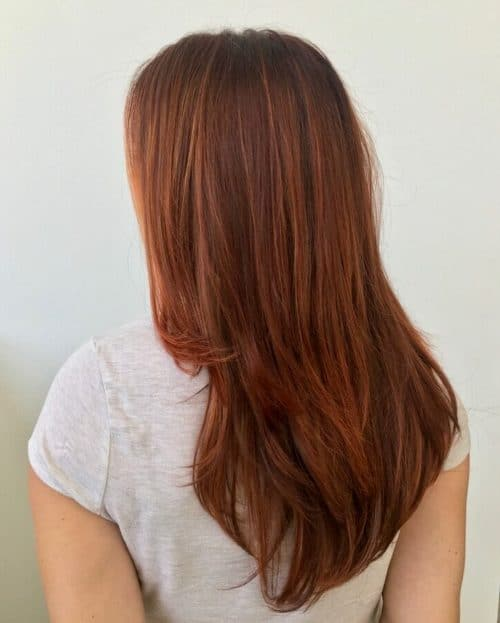 Rooty Long Layered Copper Hair With Layers And Color