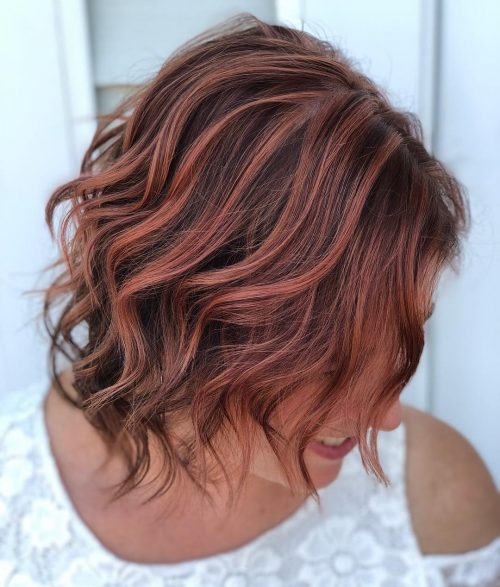 Rose Gold Highlights On Brown Hair