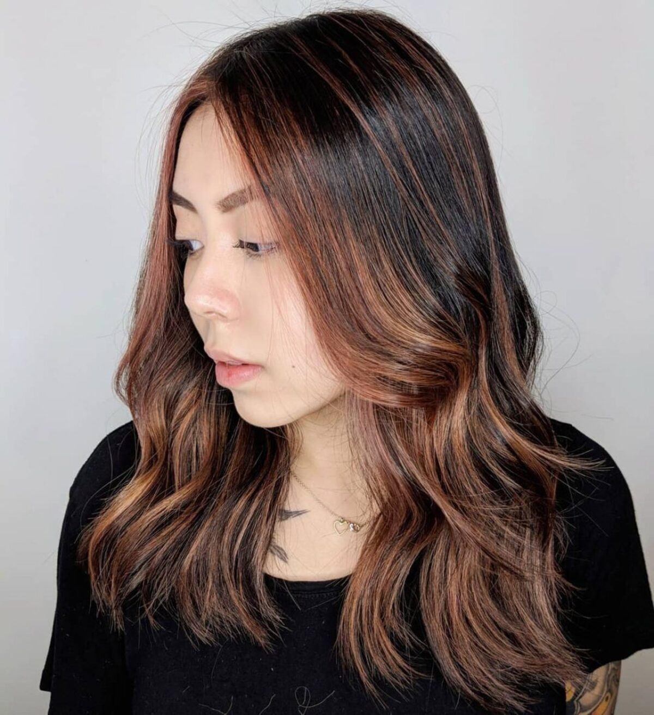 Rose Gold Highlights on Dark Brunette Hair
