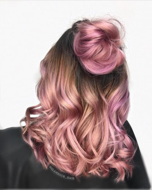 Half up rose gold ombre hairstyle for prom