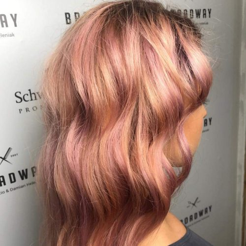 Rose gold hair color with pink