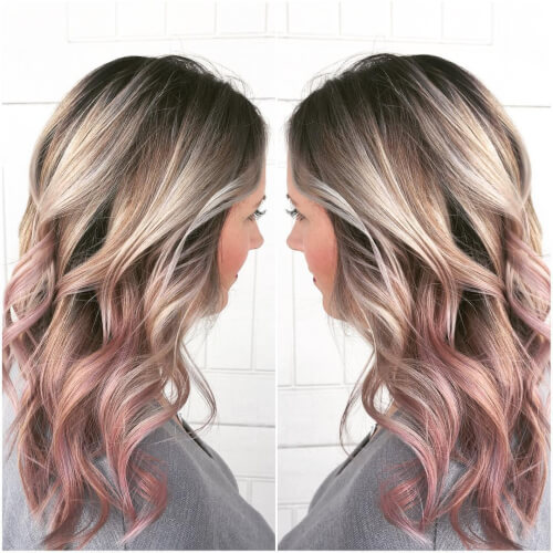 shattered root rose gold hair