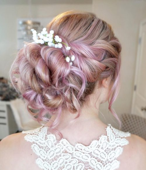 Picture of rose toned wedding updo