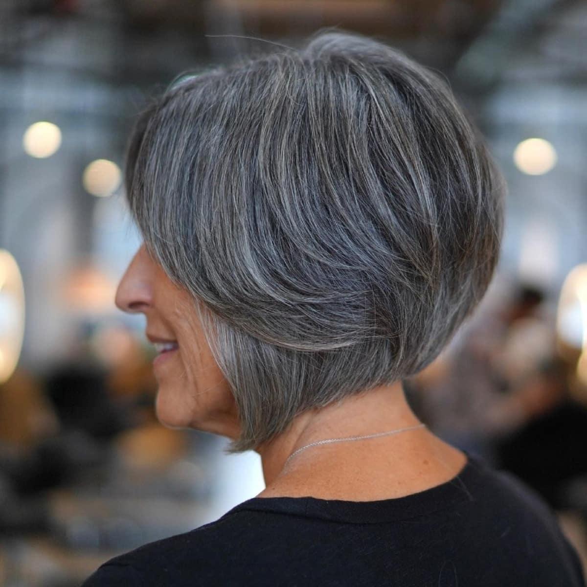 Natural salt and pepper hair
