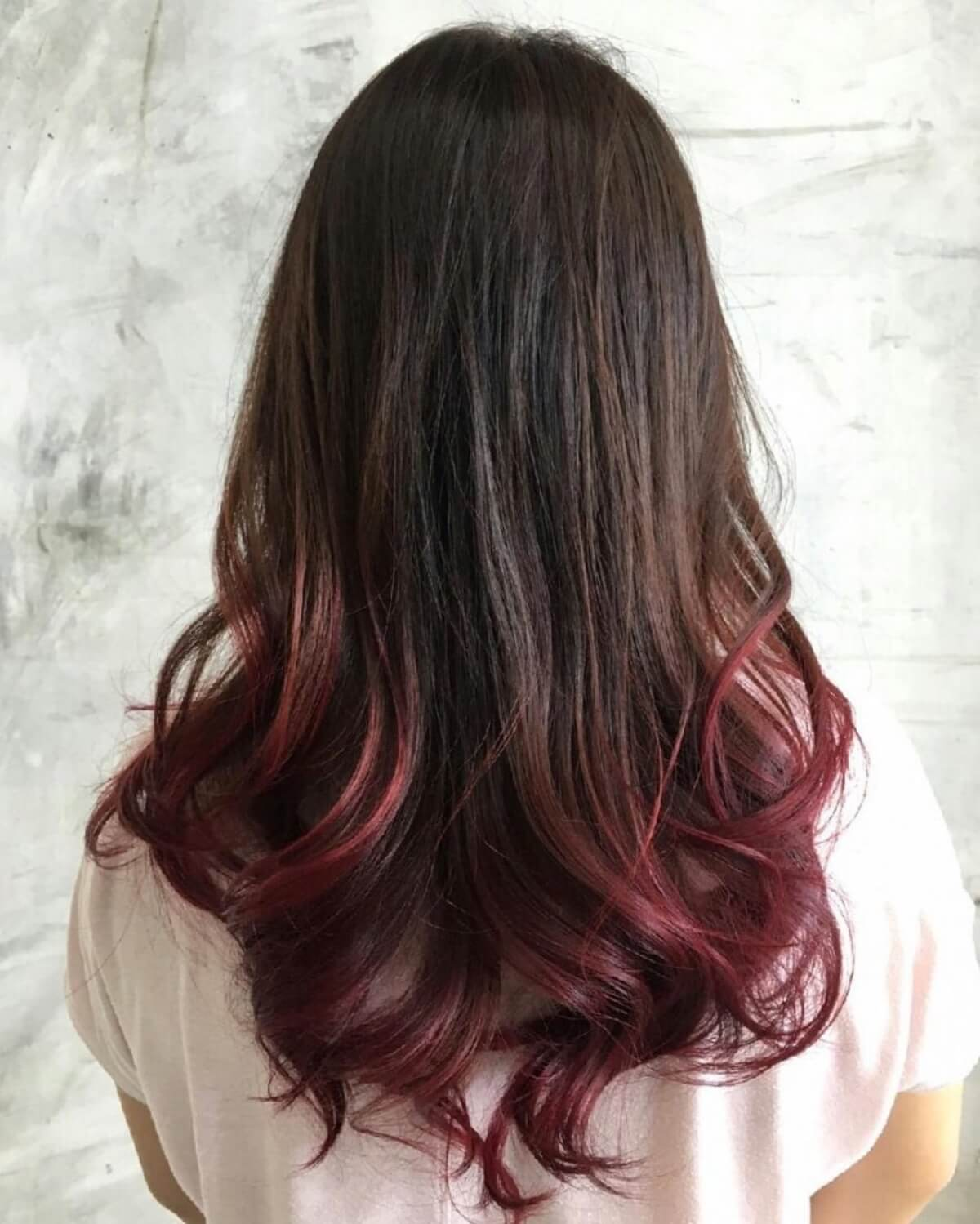 Sandy Burgundy Brown to Black Ombre