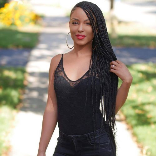 Senegalese twists with side braids