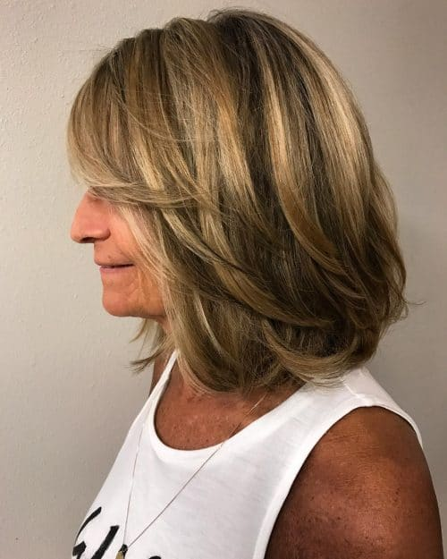 A layered shoulder length bob haircut with chunky layers