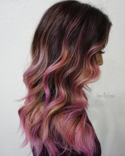 shades of pink rose gold hair color