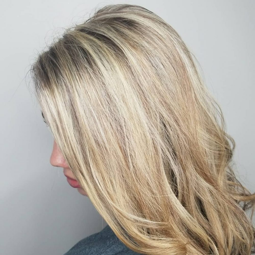 Shadow Root Color with Highlights hairstyle