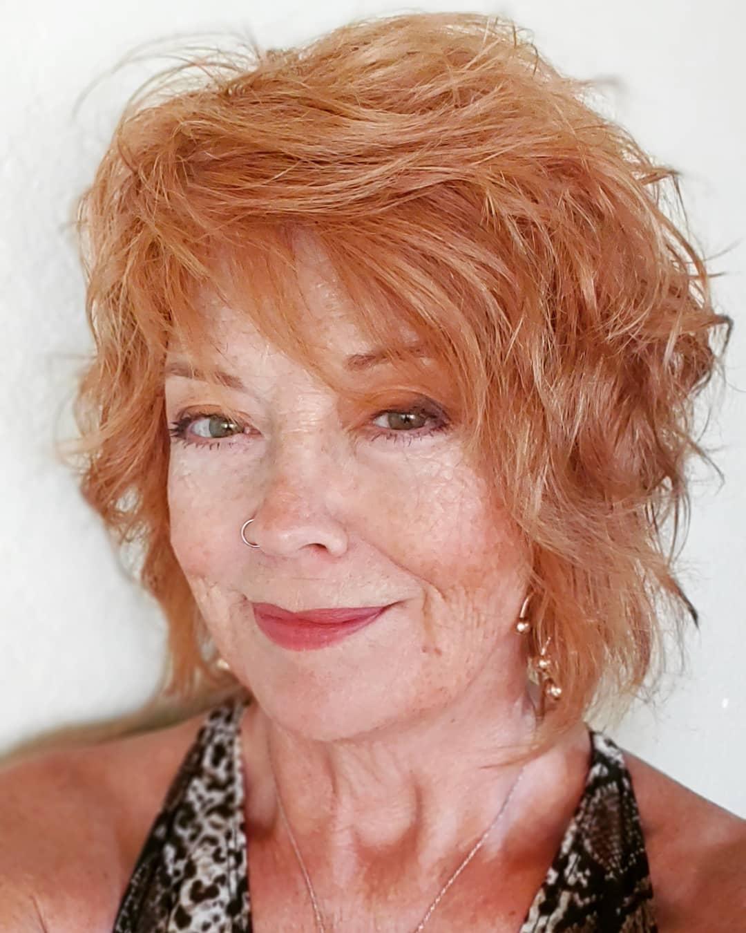 Textured shag haircut for women over 60