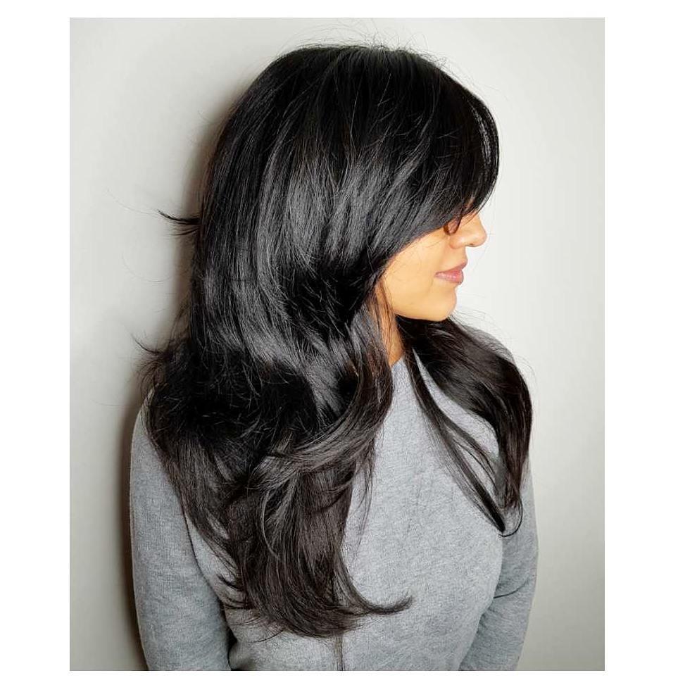 Jet Black Long Choppy Hair