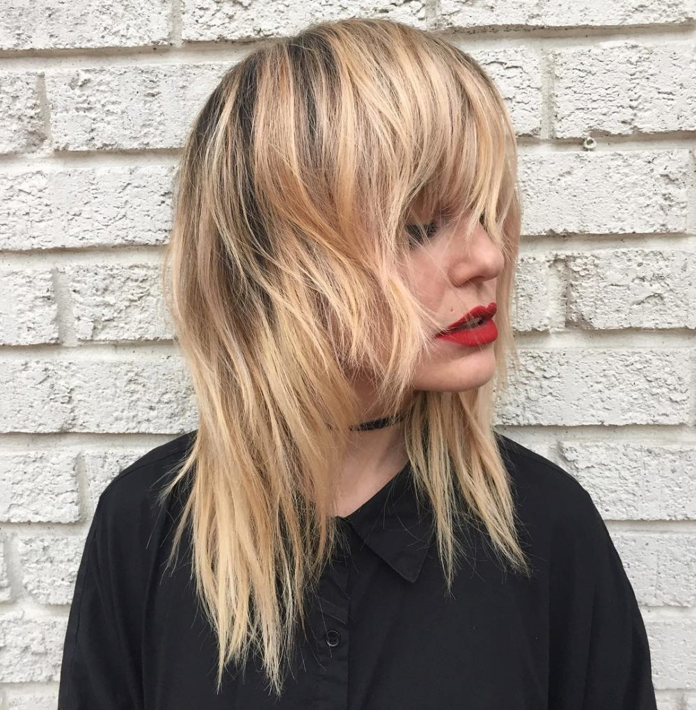 Collarbone Length Shag Cut with Rooted Blonde