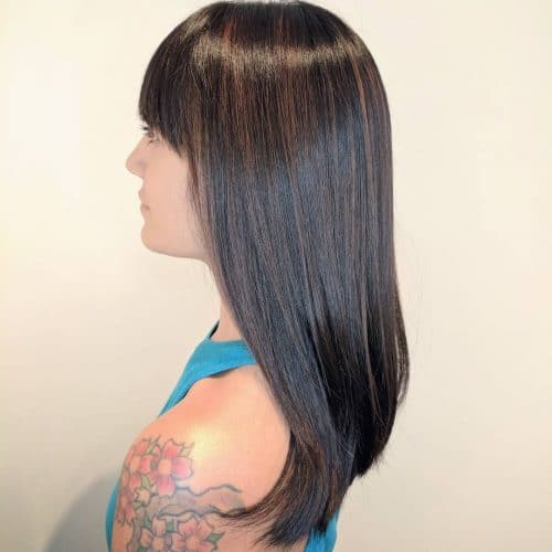 Shiny Chocolate Brown Balayage hairstyle