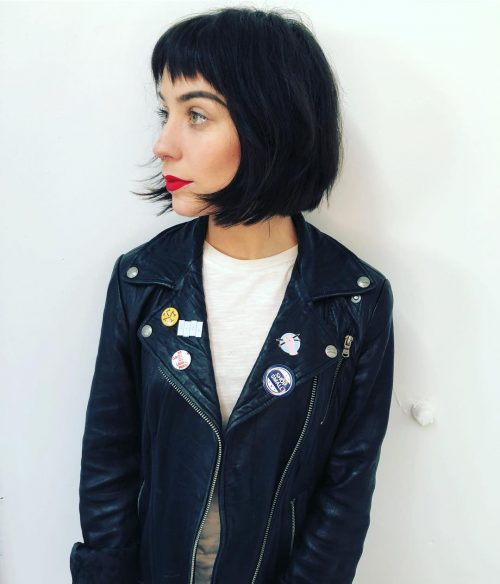 Picture of a short black bob with bangs