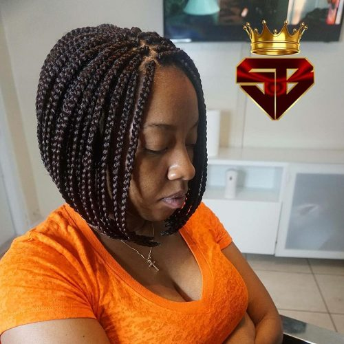 Picture of a short black box braid hairstyle